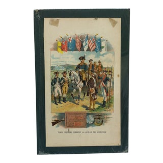 """""""Flags, Uniforms, Currency and Arms of the Revolution"""" Mounted Print by H. A. Ogden For Sale"""