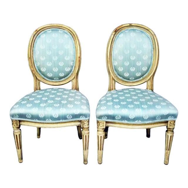 Antique Petite Louis-XVI Type French Chairs - a Pair For Sale