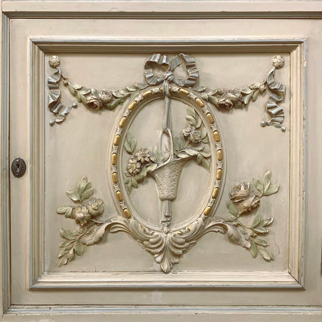 Green Antique Italian Louis XVI Painted Dresser ~ Linen Press For Sale - Image 8 of 13