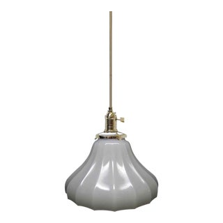 Antique Milk Glass White Pendant Light For Sale