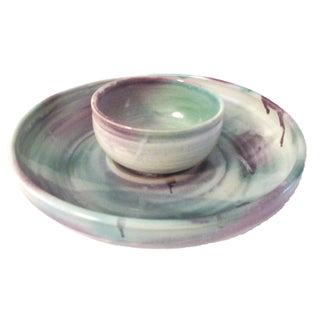 Studio Art Pottery Chip & Dip Set - A Pair