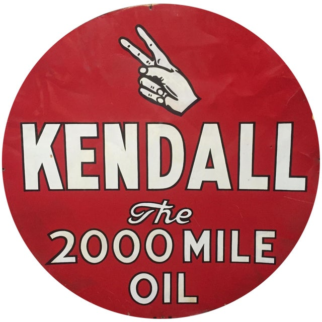 Kendall 2000 Mile Oil Vintage Advertising Sign For Sale