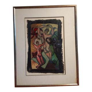 1980s Peter Booth Mixed Media Surrealist Painting For Sale