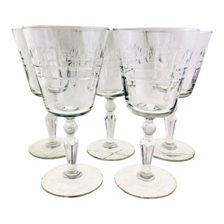 1940s Georgian Panel Style Wine Glasses - Set of 4 For Sale