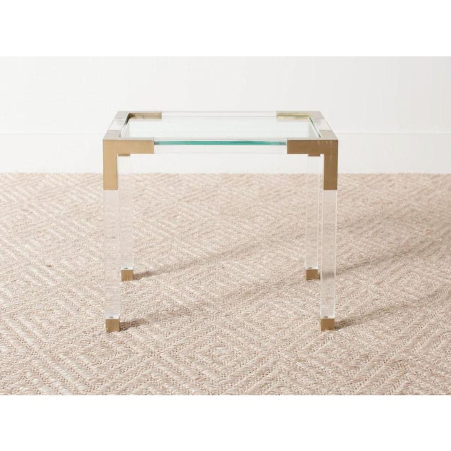 Vintage clear lucite table Brass corner accents and feet Inset glass top France Circa 1975