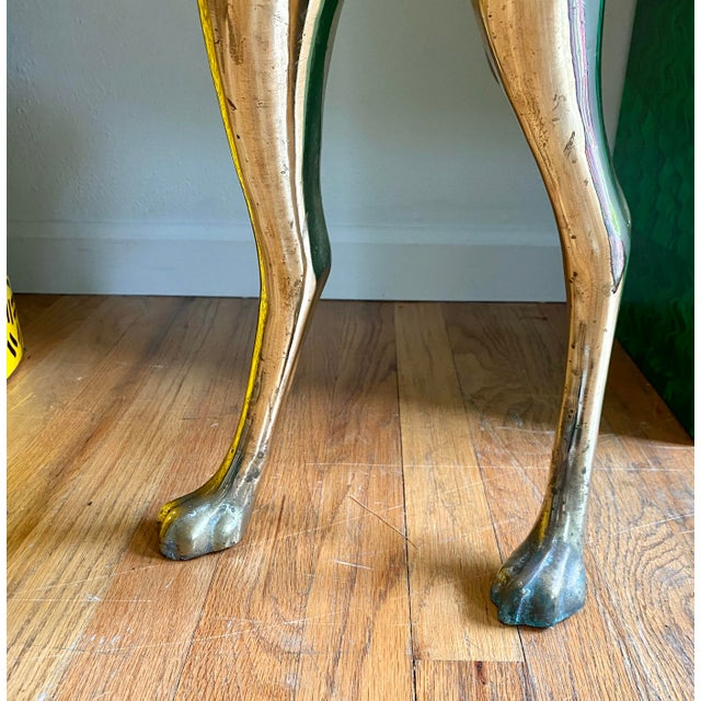 Brass Life Size Vintage Brass Whippet Dog Statue For Sale - Image 8 of 9