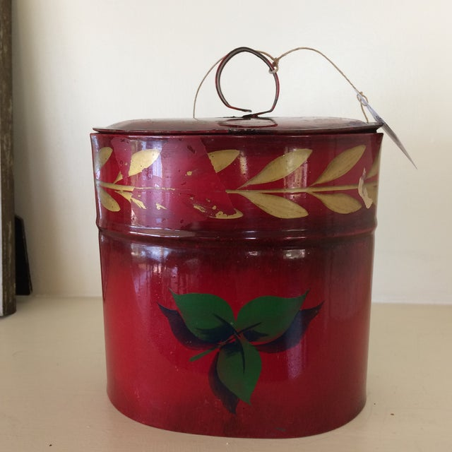 Americana Antique Hand Painted Toleware Tea Caddy For Sale - Image 3 of 13