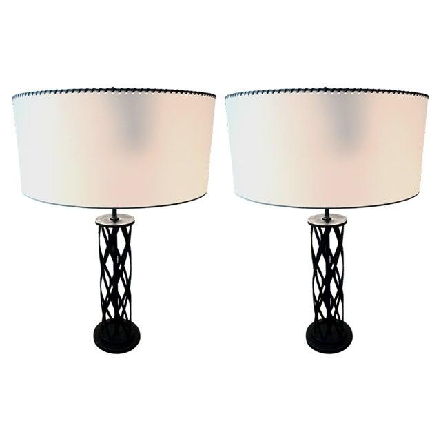 1970s Cast Iron Lattice Lamps - A Pair - Image 1 of 4