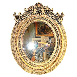 Italian Washed-Gilt Oval Putti Mirror For Sale