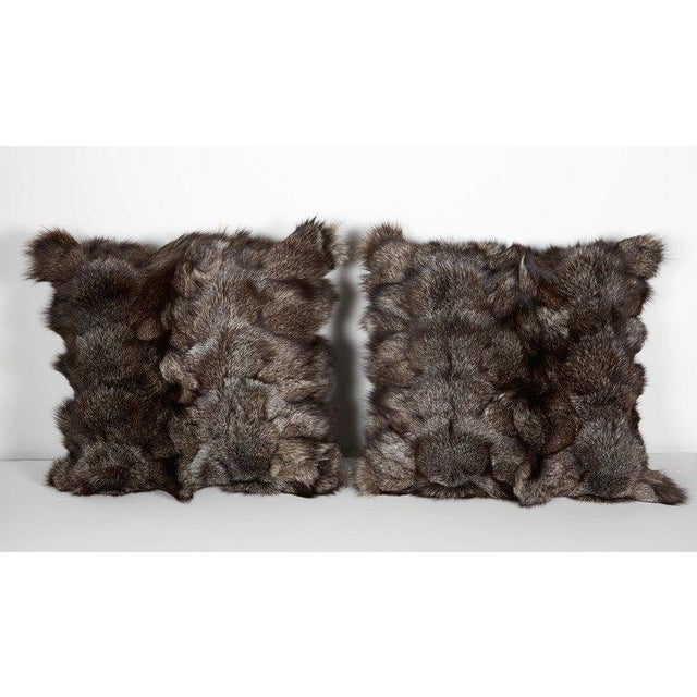 Luxury throw pillows in stunning fox hides in hues of grey. All handcrafted, featuring fine cashmere backing in charcoal...