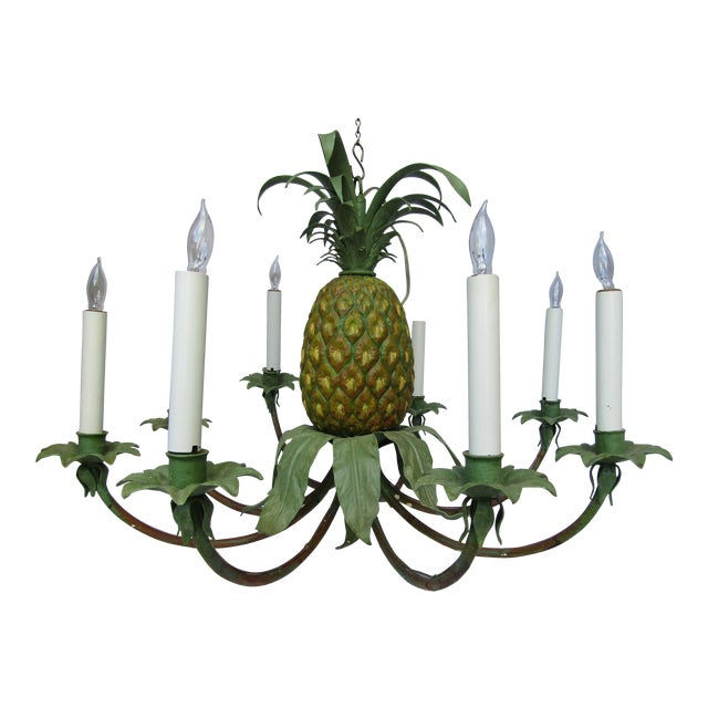 Transitional Hand Painted Pineapple Chandelier - Image 1 of 5