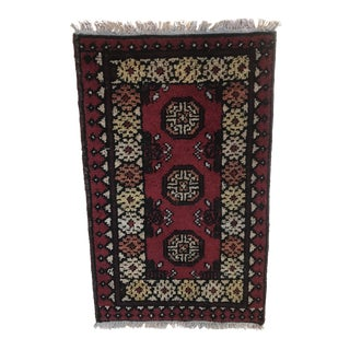 Antique Afghan Wool Throw Rug - 1′9″ × 1″ For Sale