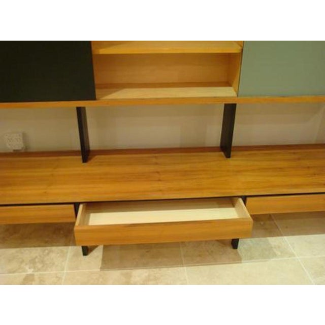 Mid Century European Birch and Lacquer Long Wall Unit For Sale - Image 4 of 4