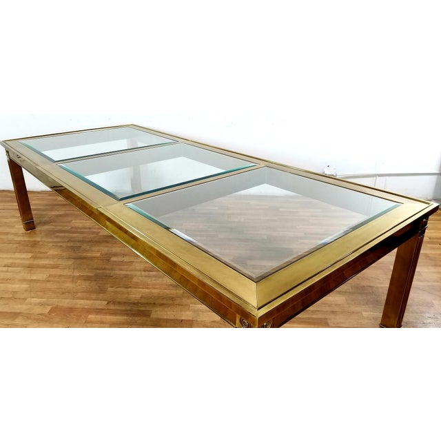 Gold Mid-Century Modern Mastercraft Brass and Beveled Glass Extension Table With Columnar Legs For Sale - Image 8 of 13
