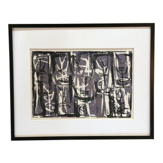 "1956 ""Family Portrait"" Abstract Expressionist Lithograph, Framed For Sale"