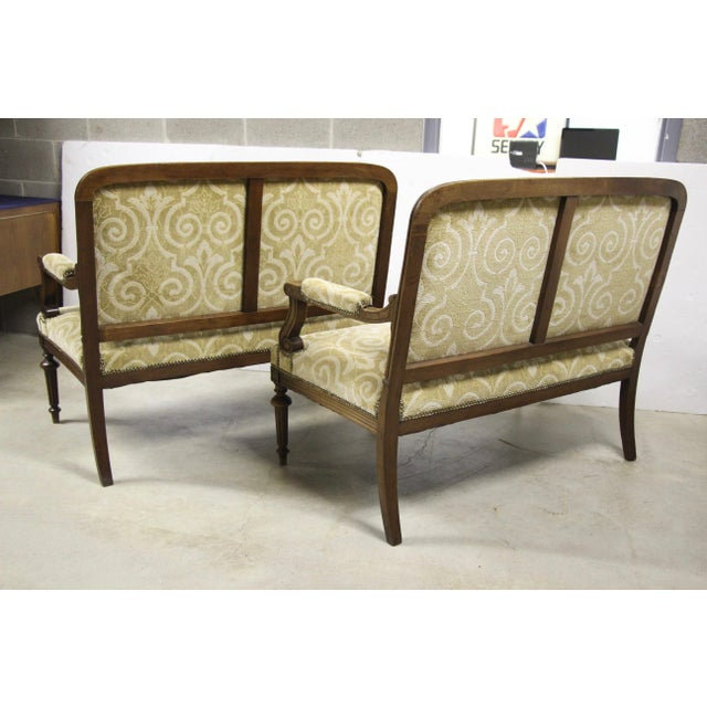 Antique French Settee Benches, Pair For Sale - Image 4 of 7