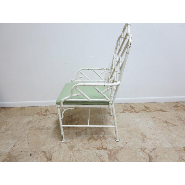 Asian Vintage Metal Faux Bamboo Arm Chair For Sale - Image 3 of 10