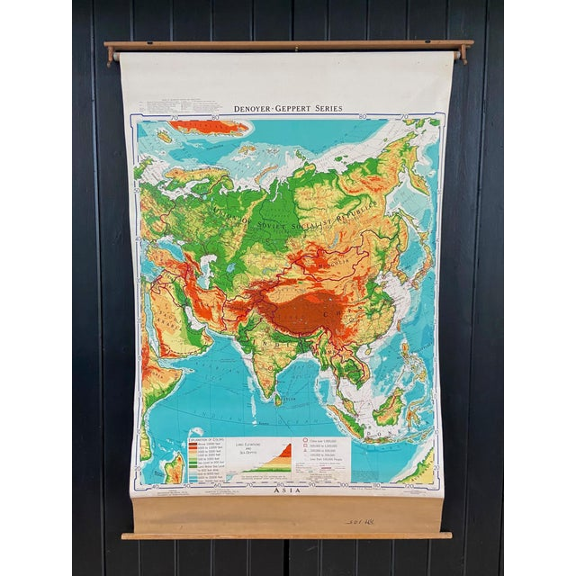 Sky Blue Mid 20th Century Denoyer Geppert Pull Down Map of Asia For Sale - Image 8 of 8