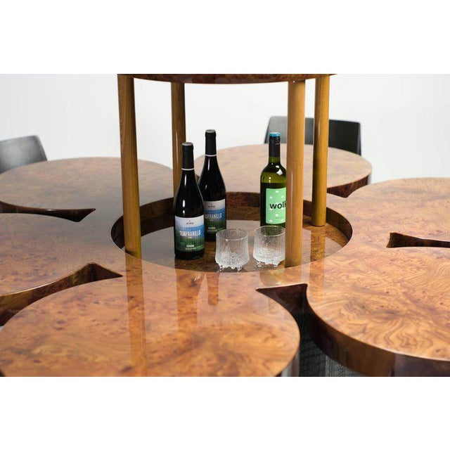 Hollywood Regency Unique Formitalia Burl Walnut Dining Table with Built-in Lift For Sale - Image 3 of 9