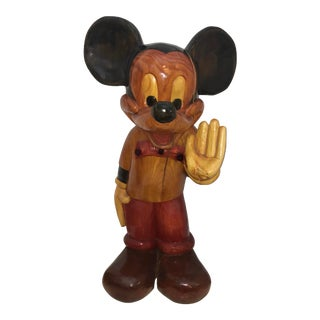 Vintage 1970's Wood Mickey Mouse Sculpture For Sale
