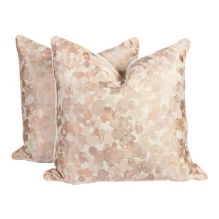 Blush Velvet, Cotton and Silk Spotted Pillows, a Pair
