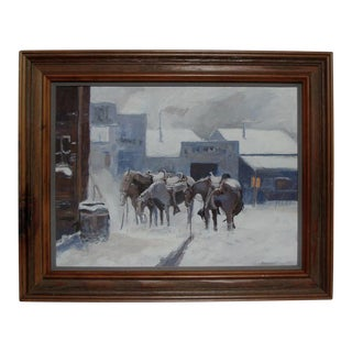 Western Equestrian Snow Scene With Saddled Horses For Sale