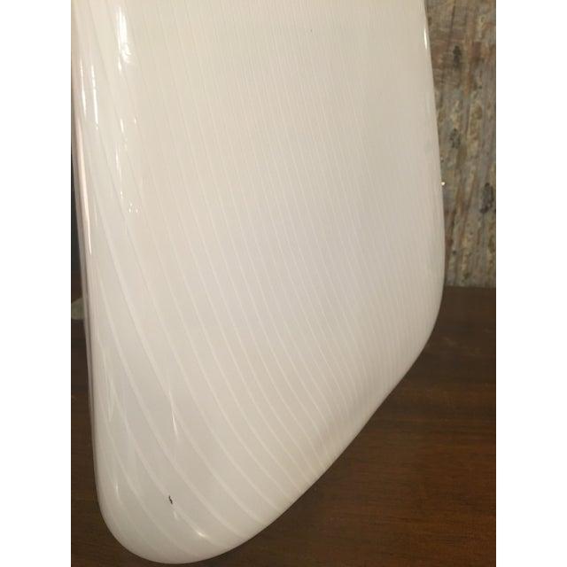 White Murano pyramid table lamp. Rewired.