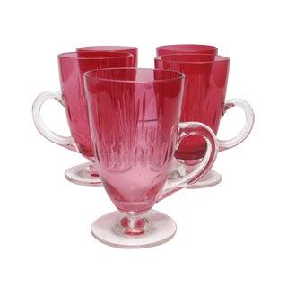 Raspberry Etched Crystal Tea Glasses- Set of 5