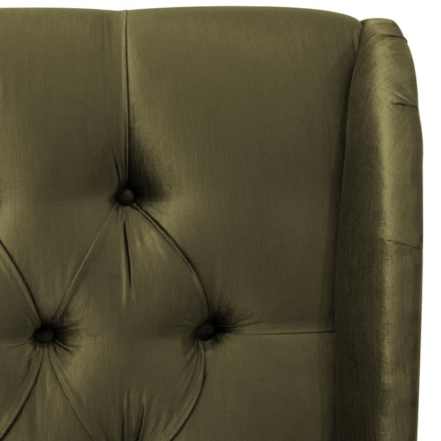 Contemporary Full Tufted Wingback Bed in Majestic Pine For Sale - Image 3 of 6