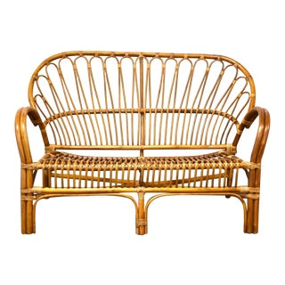 Franco Albini Style Bamboo Loveseat Sofa For Sale