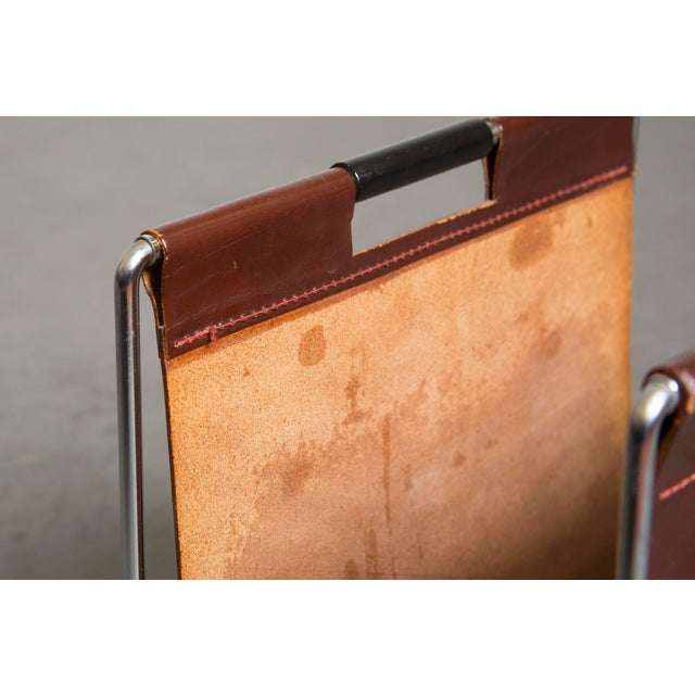 Mid-Century Leather and Chrome Magazine Stand - Image 6 of 9