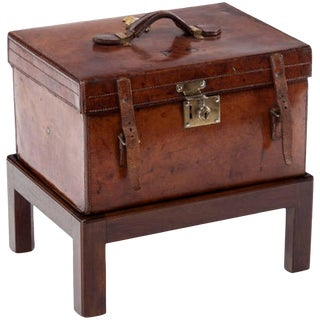 19th Century Antique Victorian Leather Travel Box on Stand For Sale