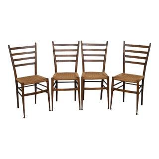 Consorzio Sedie Friuli MCM Set of 4 Italian Ladder Back Rush Seat Dining Chairs