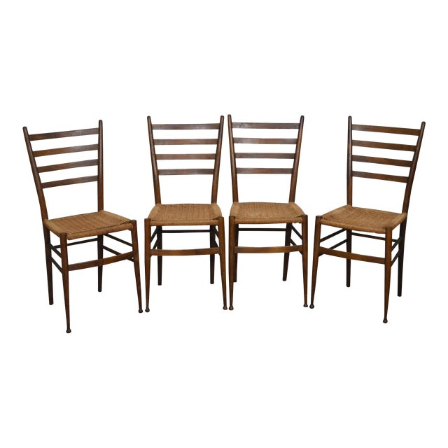 Consorzio sedie friuli mcm set of 4 italian ladder back for Sedie made in italy