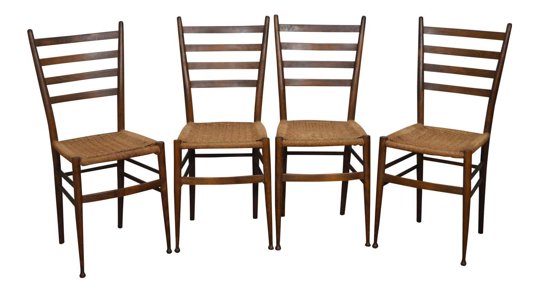 Nice Consorzio Sedie Friuli MCM Set Of 4 Italian Ladder Back Rush Seat Dining  Chairs
