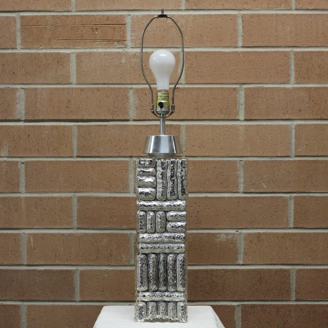 Chrome Large 1970s Modernist Geometric Design Mercury Glass Table Lamp For Sale - Image 7 of 7