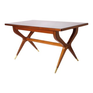 Italian Mahogany Table With Black Opaline Top and Brass Sabots For Sale