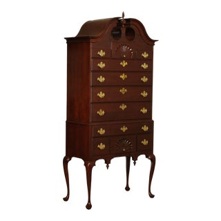 Harden Solid Cherry Shell Carved Bonnet Top Queen Anne Highboy For Sale