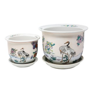 Vintage Ceramic Planters With Red-Crowned Cranes and Flowers - Set of 2 For Sale