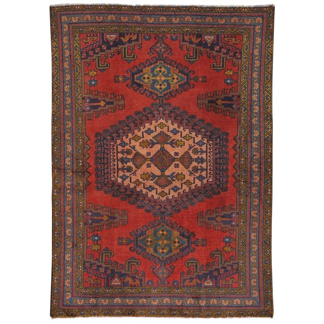 "Vintage Mashad Wool Area Rug - 5' X 6'11"" - Image 1 of 3"