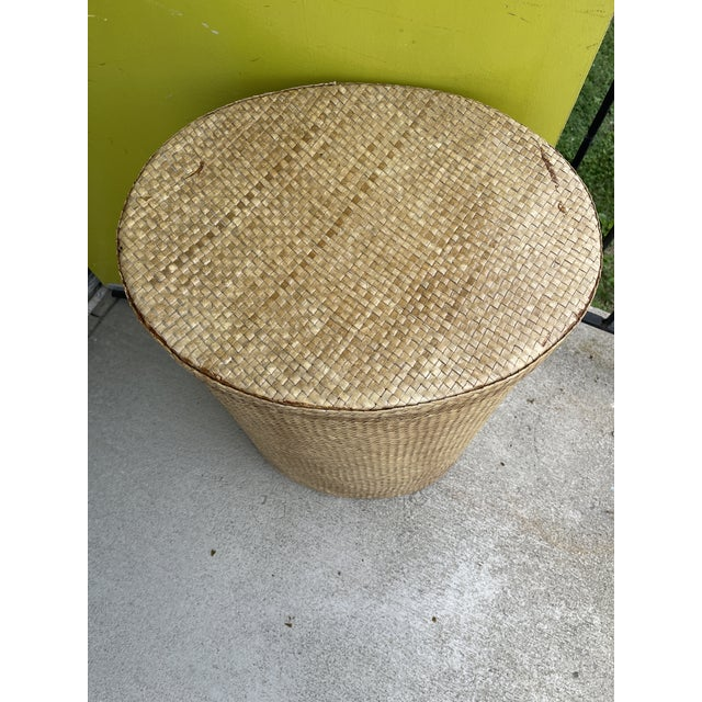 Brown Woven Wicker Hamper For Sale - Image 8 of 9