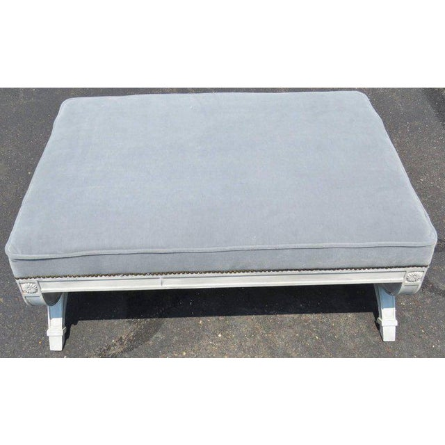 Regency Style Distressed Cream Painted Oversized Ottoman For Sale - Image 4 of 5