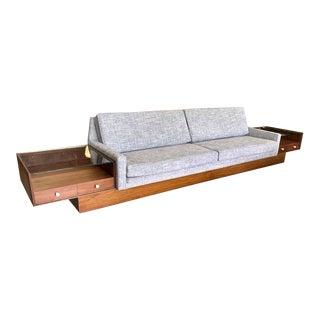Mid Century Modern Long Low Gray Tweed Reupholstered 14 Foot Platform Sofa For Sale