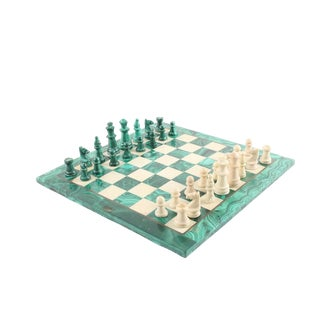 Vintage Malachite and Calcite Chess Set For Sale