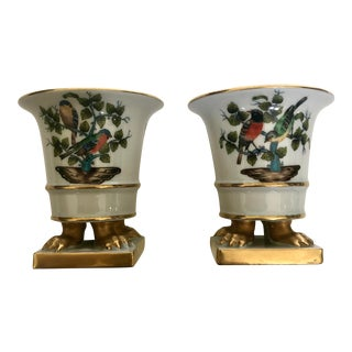 1990's Hungarian Gilded Petit Porcelain Garden Motif Urns - a Pair For Sale