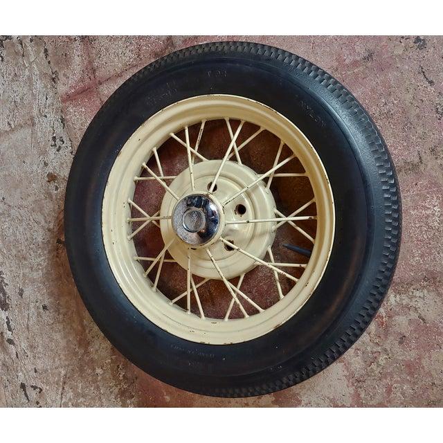 American Ford Model a Original 1920/30s Wire Spoke Wheel W/Insa Tire For Sale - Image 3 of 10