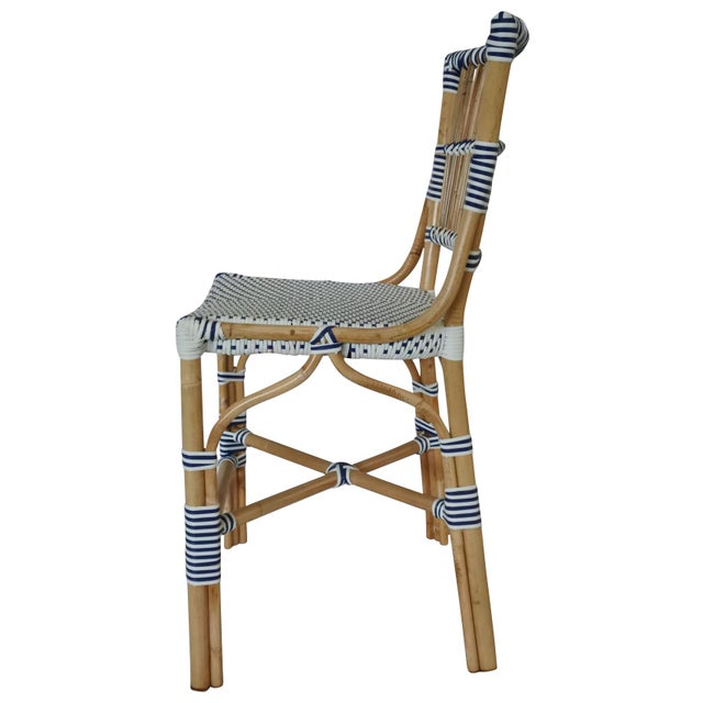 Madrid Counter Chair. Rattan Frame with Polyurethane Weave. Color - White/Navy. Chair weight limit 225 lbs.
