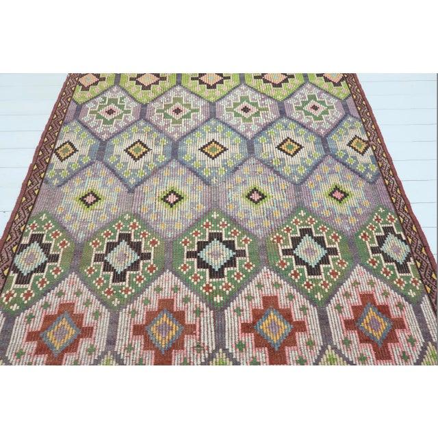 Art Deco Vintage Turkish Sardes Nomad's Flat Weave Rug For Sale - Image 3 of 12