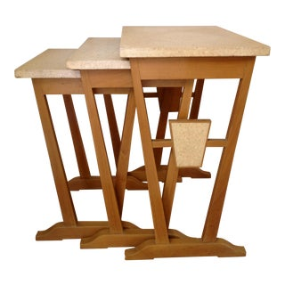 Paul Frankl Style Nesting Tables in Cork and Maple - Set of 3