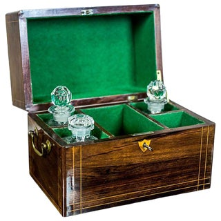 19th Century Liqueur Set with a Storage Box For Sale